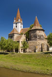 Fortified church in transylvanian village Stock Photos