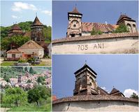 Fortified Church - Valea Viilor (collage). Medieval fortified church surrounded by walls, at Valea Viilor, Romania Royalty Free Stock Image