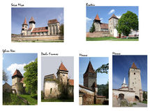 Fortified Churches (collage) Royalty Free Stock Photos