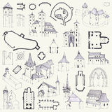Fortified churches. Hand drawing of plans, elevations, perspectives and details Stock Photo