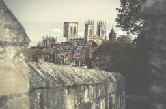 Fortified Cities,York Bar Walls with York Minster in the backgro Royalty Free Stock Image