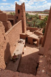 Fortified City with Mud Houses in the Ait Benhaddo. Fortified City (Ksar) with Mud Houses in the Kasbah Ait Benhaddou near Ouarzazate against new village stock photos