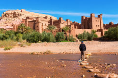 Fortified City with Mud Houses in the Ait Benhaddo Stock Photography