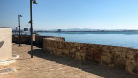 Fortified city walls in Acre or Akko, Israel stock video