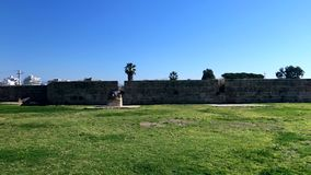 Fortified city walls in Acre or Akko, Israel stock footage