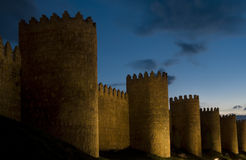 Fortified City Walls, Avila Spain. Iconic fortified city walls, this is Avila in the Castille y Leon region. At dusk Stock Images