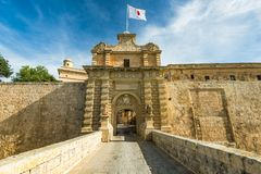 Fortified gate to Mdina,Silent City in Malta.  Royalty Free Stock Photography