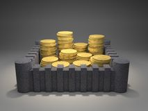 Fortified Gold Coins. 3d render illustration of heaps of gold coins protected inside a fortress Stock Image