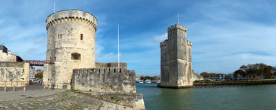Fortified Harbor at La Rochelle France Stock Photography
