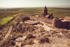 Fortified Khor Virap Monastery on hillock. Exploring Armenia. Armenian architecture. Tourism and travel concept. Religious landmar. K. Tourist attraction. Copy stock photo