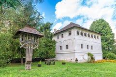 The fortified mansion (Cula in romanian) in Maldaresti, Romania Stock Photo