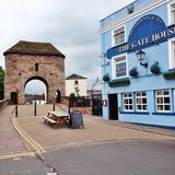 Fortified Medieval Bridge Monmouth. The only remaining fortified medieval bridge in the United Kingdom over the Monnow at Zmonmouth Stock Images
