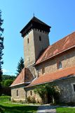 Fortified medieval church in the village Malancrav, Transylvania. Here are some of the most significant Gothic murals in Transylvania. The Saxon Romanesque Royalty Free Stock Photos