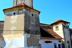 Fortified medieval church in the village Sanpetru, Transylvania Royalty Free Stock Photos
