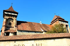 Fortified medieval church in Vineyard Valley , Transylvania Stock Photos