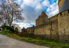 Fortified medieval city of Carcassonne in France. Photo of Fortified medieval city of Carcassonne in France royalty free stock photos