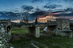Medieval bridge of the Burgo de Osma, Soria, Spain. stock photo