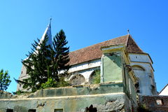 Fortified medieval saxon church in Soars, Brasov county, Transylvania. Ruins. Royalty Free Stock Images