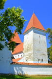 Fortified medieval saxon church in the village Merghindeal- Mergenthal, Transylvania,Romania Stock Photos