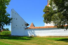 Fortified medieval saxon church in the village Merghindeal- Mergenthal, Transylvania,Romania Royalty Free Stock Photography