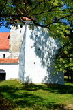 Fortified medieval saxon church in the village Merghindeal- Mergenthal, Transylvania, Romania Stock Photos