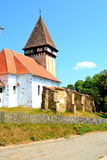 Fortified medieval saxon church in the village Veseud, Zied , Transylvania,Romania Royalty Free Stock Photo