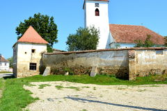 Fortified medieval saxon evangelic church in the village Bruiu-Braller, Transylvania, Romania. Bruiu - Braller, is a commune in Sibiu County, Transylvania Royalty Free Stock Image
