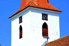 Fortified medieval saxon evangelic church in the village Bruiu-Braller, Transylvania, Romania. Bruiu - Braller, is a commune in Sibiu County, Transylvania Stock Photography