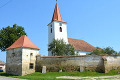 Fortified medieval saxon evangelic church in the village Bruiu-Braller, Transylvania, Romania. Bruiu - Braller, is a commune in Sibiu County, Transylvania Royalty Free Stock Photo