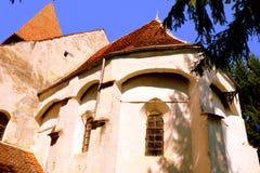 Fortified medieval saxon evangelic church in the village Somartin, Martinsberg, Märtelsberg, Transylvania, Romania. Village Somartin, Martinsberg, Mä royalty free stock photo