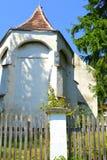 Fortified medieval saxon evangelic church in the village Somartin, Martinsberg, Märtelsberg, Transylvania, Romania. Village Somartin, Martinsberg, Mä stock photo