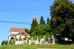 Fortified medieval saxon evangelic church in the village Somartin, Martinsberg, Märtelsberg, Transylvania, Romania. Village Somartin, Martinsberg, Mä stock images
