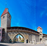 Fortified medieval town wall Royalty Free Stock Photo