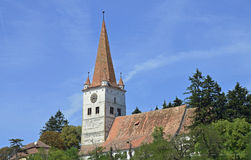 Fortified monastery. Near Brasov and old traditional Transylvania village on the hill Stock Photography