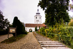 Fortified reformed castle church in Sfantu Gheorghe. Covasna, Romania Royalty Free Stock Photography