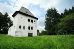 Fortified Romanian villa. Exterior of historic fortified villa or manor house, Maldaresti, Romania stock photography