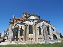Fortified Saint Jouin  abbey church, France. This impressive abbey was founded in the IVth century, rebuilt in the XI and XIIth centuries and fortified in the Royalty Free Stock Photos