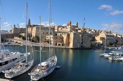 Fortified town. Senglea ( Fortified by the Order of St. John ) ... Malta ... and the marina in Dockyard Creek royalty free stock photos