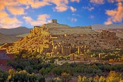 The fortified town of Ait ben Haddou near Ouarzazate Morocco. On the edge of the sahara desert in Morocco at sunset. Famous for its use as a set in many films Royalty Free Stock Photo
