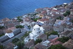 Fortified town of Monemvasia in Greece, top view. Travel. Stock Images
