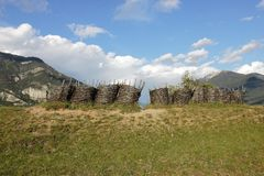Wickerwork gabions near Fort of Mont-Dauphin, french Hautes Alpes stock photo