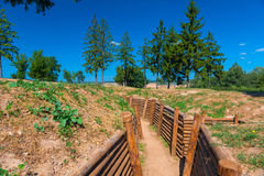 Fortified trench in field for combat operations Royalty Free Stock Photos