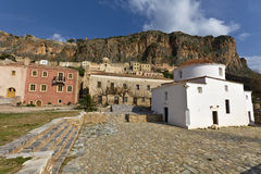 Fortified village of Monemvasia in Greece Stock Photos
