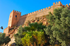 Fortified wall of the Alcazaba Royalty Free Stock Image