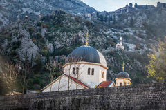 The fortified wall and church in old town Kotor, Montenegro.  stock images