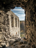 Fortified wall embrasure. One of many in the medieval castle Ogrodzieniec, located on the Trail of the Eagles' Nest within the Krakow-Czestochowa Upland, Poland royalty free stock photography