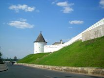 Fortified Wall. The fortress wall of the Kremlin in Kazan Royalty Free Stock Image