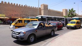 Fortified wall of medina and trafficway in Sousse, Tunisia stock footage