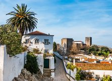 Fortified wall in Obidos, Portugal Stock Photo