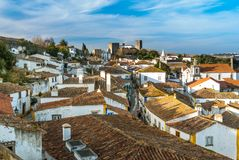 Fortified wall in Obidos, Portugal Stock Image